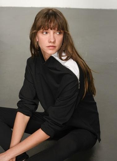 NGSTYLE NGKAW21SW0011 Yaka Poplin Detaylı Sweatshirt Siyah